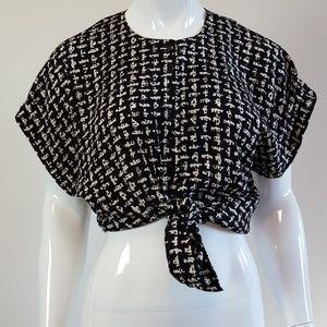 Vintage Black & White Print Button-Up Blouse